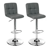"Lot de 2 Tabourets de Bar ""Delek"" Gris"