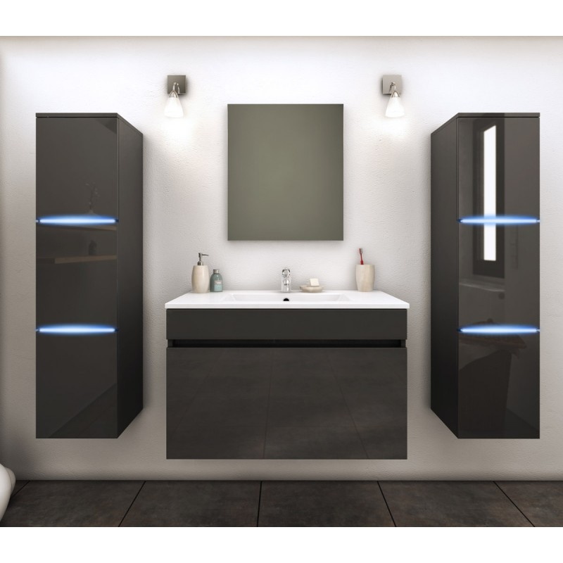 ensemble meuble salle de bain lecce 80cm gris. Black Bedroom Furniture Sets. Home Design Ideas