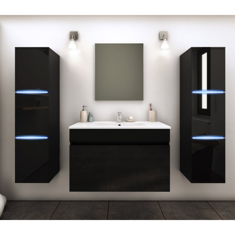 ensemble meuble salle de bain lecce 80cm noir. Black Bedroom Furniture Sets. Home Design Ideas