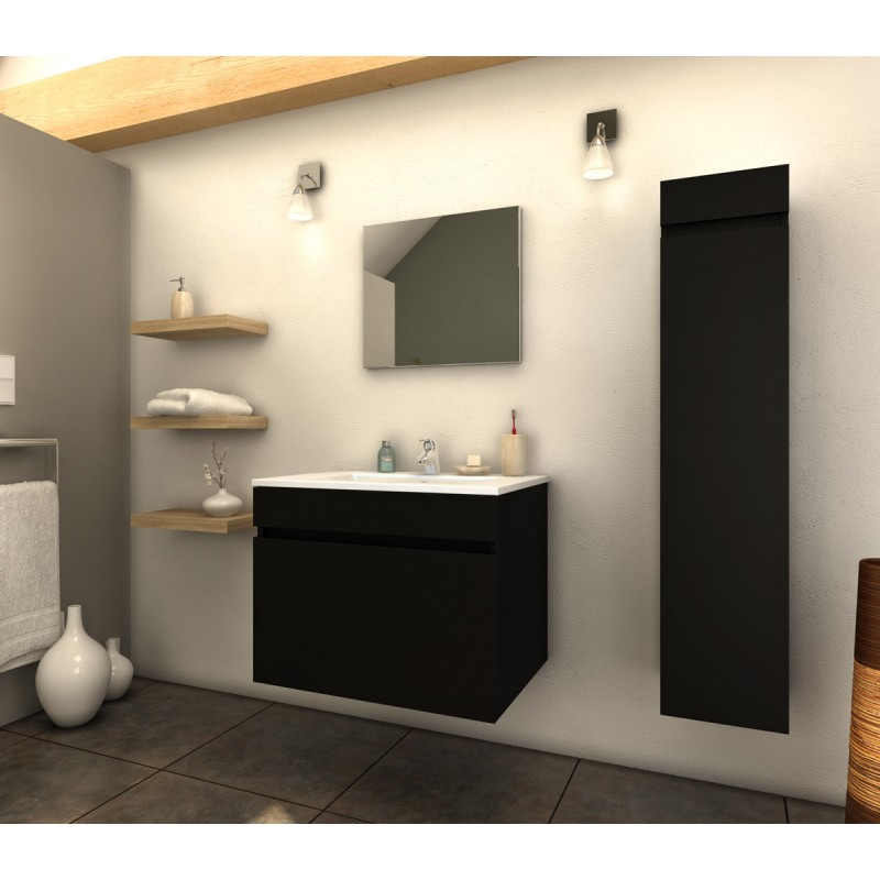 ensemble meuble salle de bain latina 60cm noir mat. Black Bedroom Furniture Sets. Home Design Ideas