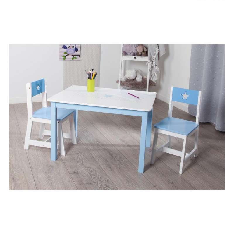 Table bureau enfant bois abc bleu for Table bureau bois