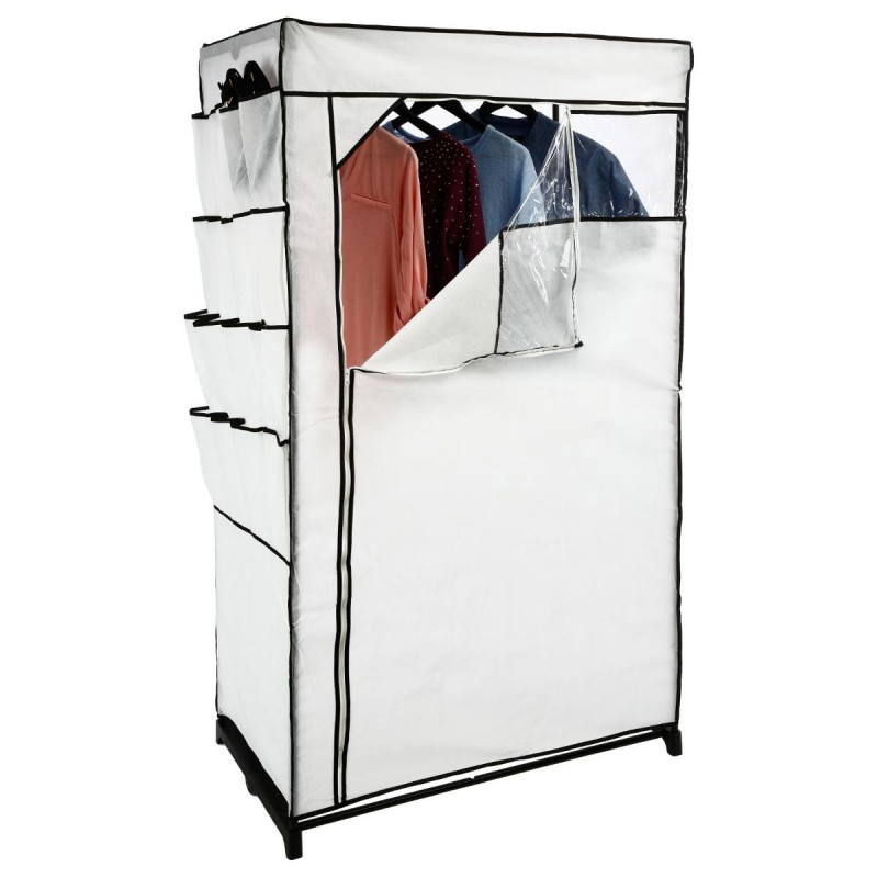Armoire penderie rangements chaussures blanc for Housse pour armoire tissu