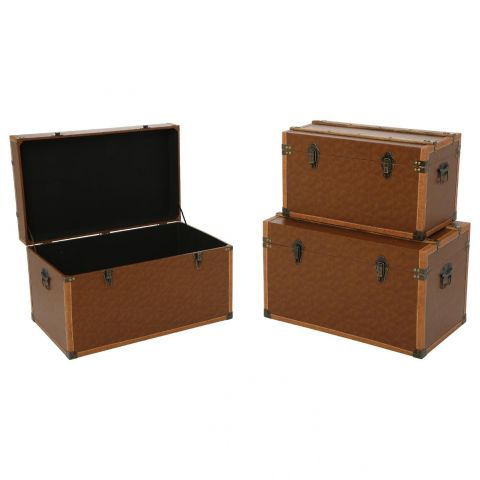 "Lot de 3 Malles de Rangement ""Dandy"" Marron"