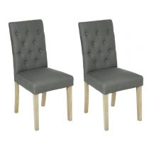 "Lot de 2 Chaises ""Cleva"" Canvas Gris"