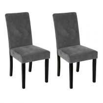 "Lot de 2 Chaises ""Cleva"" Velours Gris"