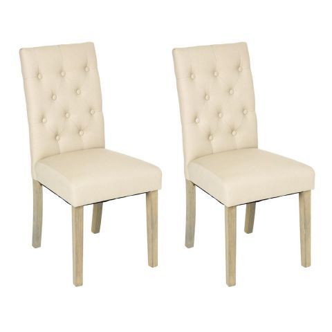 "Lot de 2 Chaises ""Cleva"" Canvas Naturel"