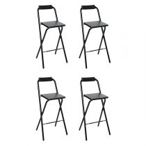 "Lot de 4 Tabourets de Bar ""Louna"" Noir"