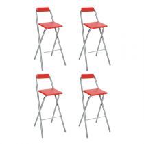 "Lot de 4 Tabourets de Bar ""Louna"" Rouge"