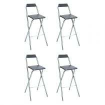 "Lot de 4 Tabourets de Bar ""Louna"" Gris"