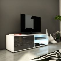 "Meuble TV Design ""Kiara I"" 120cm Gris Brillant"
