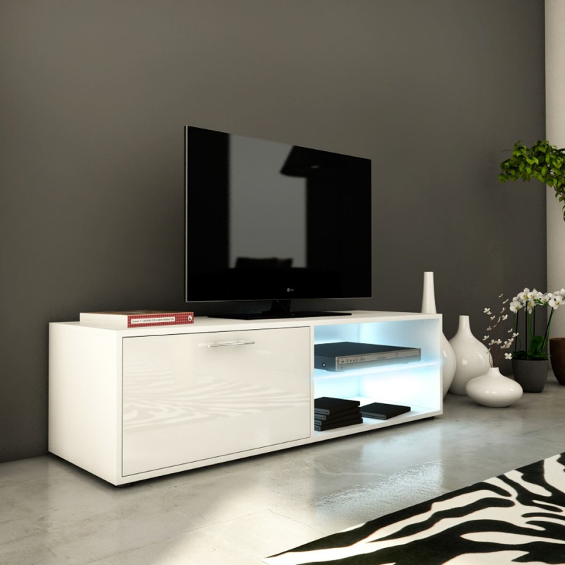 meuble tv design kiara i 120cm blanc brillant. Black Bedroom Furniture Sets. Home Design Ideas