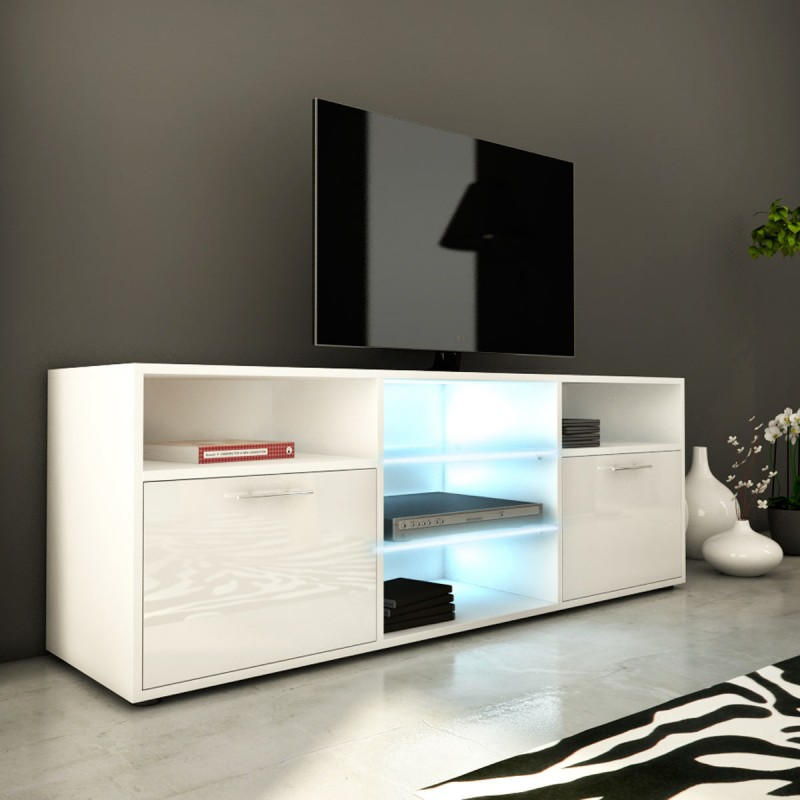 Meuble tv design kiara iii 150cm blanc brillant - Meuble tv blanc brillant ...