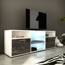 "Meuble TV Design ""Kiara III"" 150cm Gris Brillant"