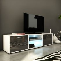 "Meuble TV Design ""Kiara IV"" 150cm Gris Brillant"
