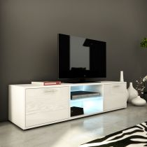 "Meuble TV Design ""Kiara IV"" 150cm Blanc Brillant"