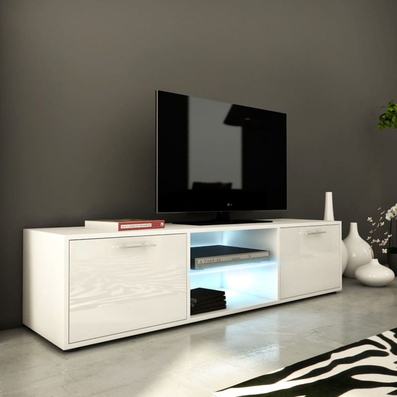 meuble tv design kiara iv 150cm blanc brillant. Black Bedroom Furniture Sets. Home Design Ideas