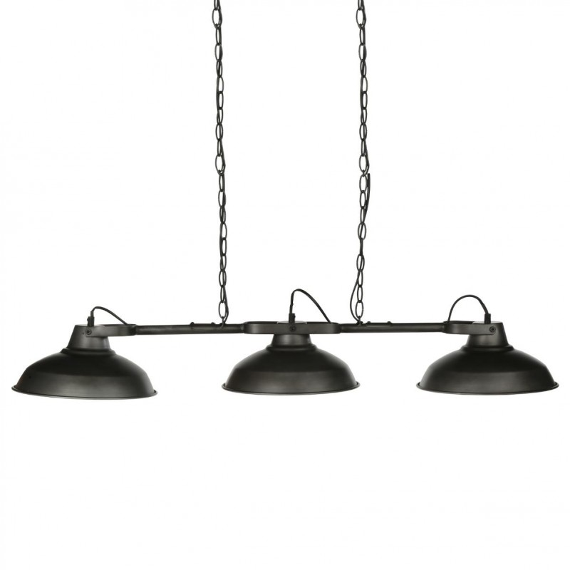 lampe suspension m tal 3 t tes noir. Black Bedroom Furniture Sets. Home Design Ideas