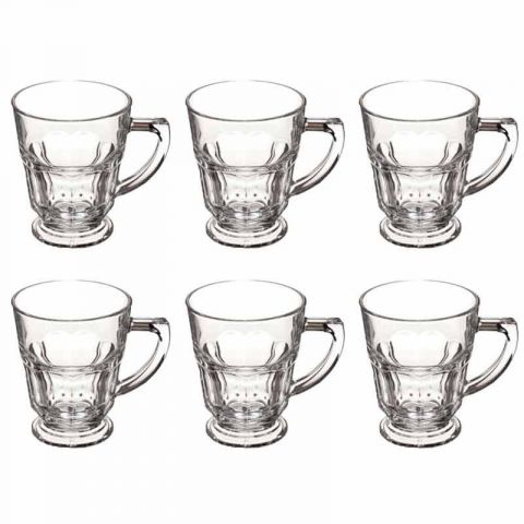 lot de 6 mugs en verre casablanca 27cl transparent. Black Bedroom Furniture Sets. Home Design Ideas