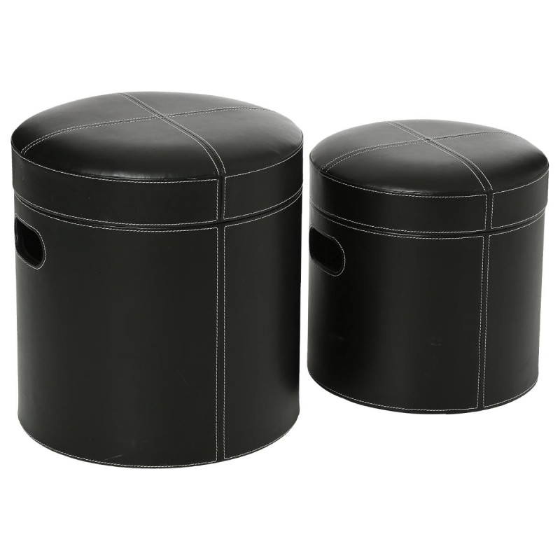 set de 2 poufs rond similicuir noir. Black Bedroom Furniture Sets. Home Design Ideas