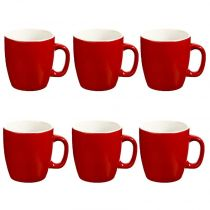 "Lot de 6 Mugs ""Colors"" 18cl Rouge"