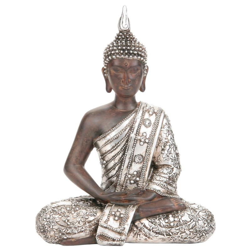 Statue bouddha argent 28cm for Decoration jardin bouddha