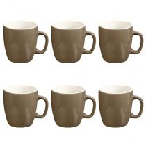 "Lot de 6 Mugs ""Colors"" 18cl Taupe"