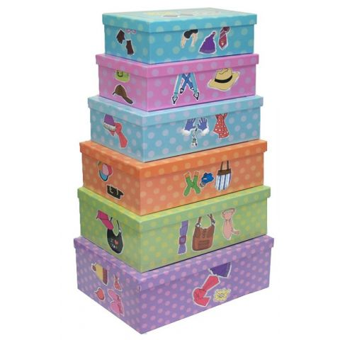 "Set de 6 Boites de Rangement ""Mode"" 47cm Multicolore"