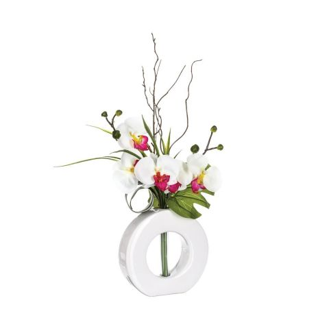 Composition Florale Orchidée & Vase 44cm Blanc & Rose