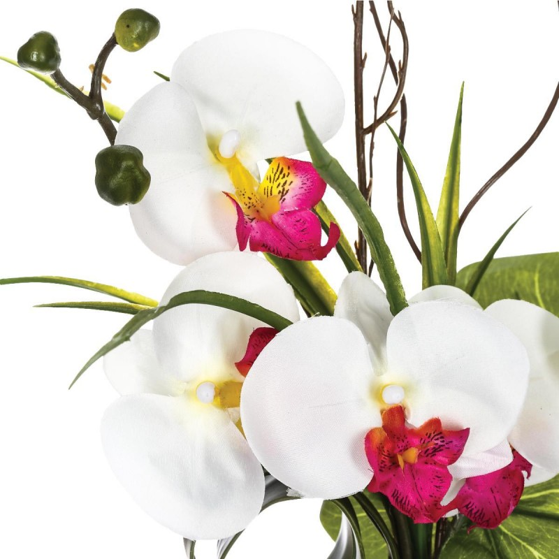 composition florale orchid e vase 44cm blanc. Black Bedroom Furniture Sets. Home Design Ideas