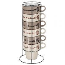 "Set de 6 Mugs avec Rack ""Chocolat"" Marron"