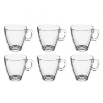 "Lot de 6 Mugs en Verre ""Rond"" 21,5cl Transparent"