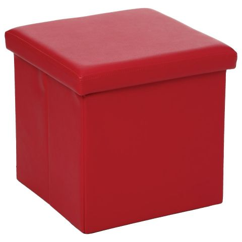 "Pouf PVC Carré ""Lounge"" Rouge"