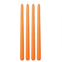 4 Bougies Flambeau 30cm Orange