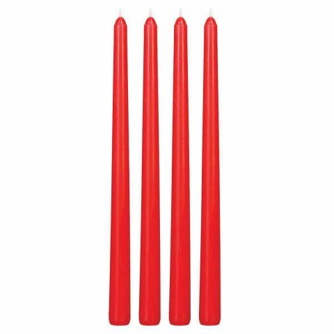 "Lot de 4 Bougies ""Flambeau"" 30cm Rouge"