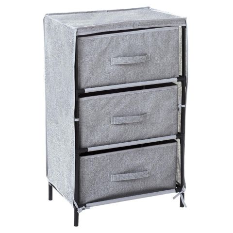 meuble de rangement 3 tiroirs tissu 71cm gris clair. Black Bedroom Furniture Sets. Home Design Ideas