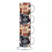 "Set de 4 Mugs avec Rack ""Café"" Marron"