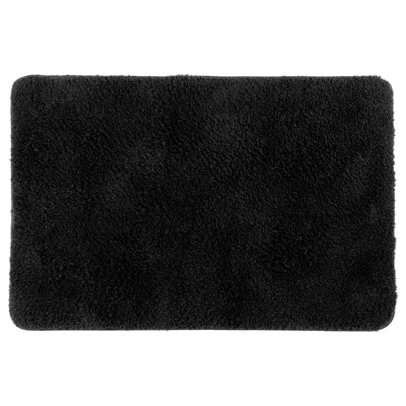 tapis microfibre salle de bain 60x90cm noir. Black Bedroom Furniture Sets. Home Design Ideas