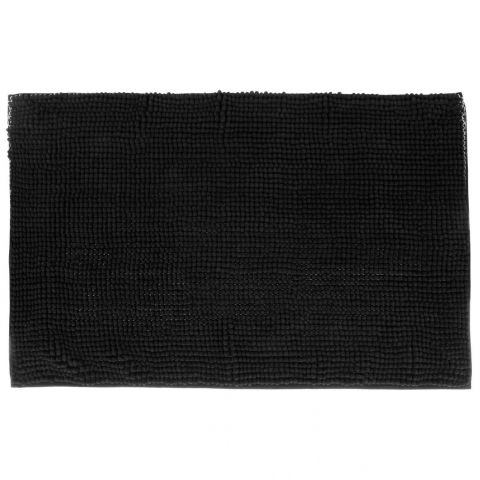 tapis de salle de bain chenille 80x50cm noir. Black Bedroom Furniture Sets. Home Design Ideas