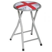 "Tabouret Pliant ""London Ground"" 45cm Gris & Rouge"