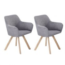 "Lot de 2 Fauteuils Design ""Bess"" 81cm Gris Clair & Naturel"