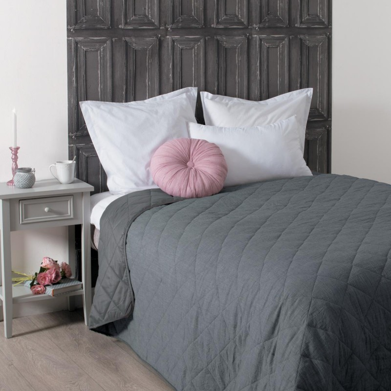 dessus de lit matelass 230x260cm gris fonc. Black Bedroom Furniture Sets. Home Design Ideas