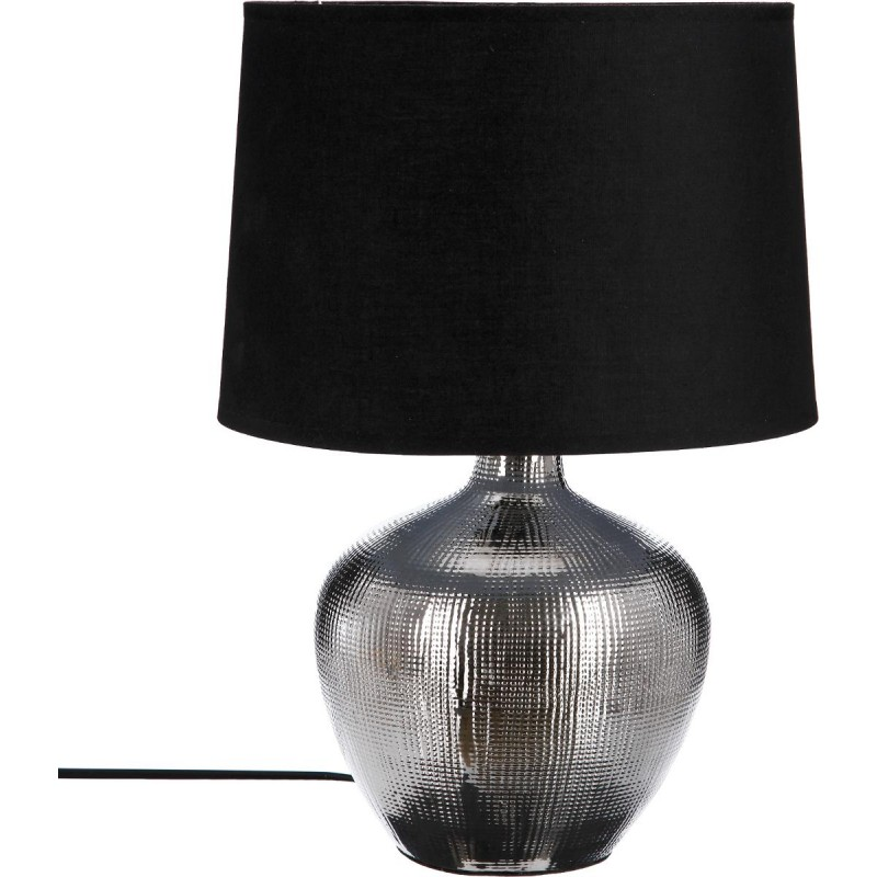 lampe poser c ramique bouteille 41cm argent. Black Bedroom Furniture Sets. Home Design Ideas