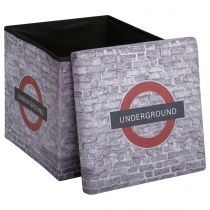 "Pouf Pliable ""London"" 38x38cm Gris Clair"