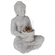Photophore Bouddha Assis en Ciment 41cm Gris