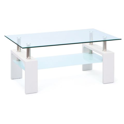 "Table Basse en Verre ""Leny"" 100cm Blanc"
