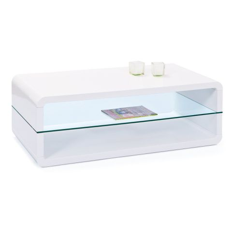 "Table Basse Design Verre ""Miko"" 120cm Blanc"