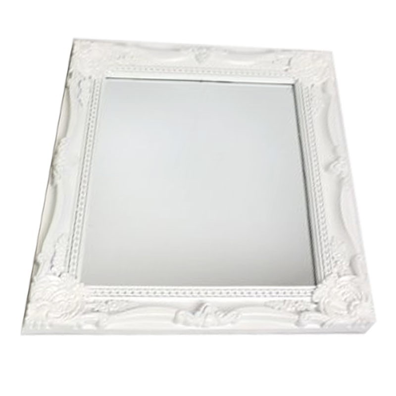 Miroir baroque blanc 35x40cm for Grand miroir blanc baroque