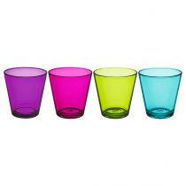 "Lot de 4 Gobelets en Verre ""City"" Multicolore"