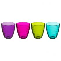 "Lot de 4 Gobelets en Verre ""Mexico"" Multicolore"