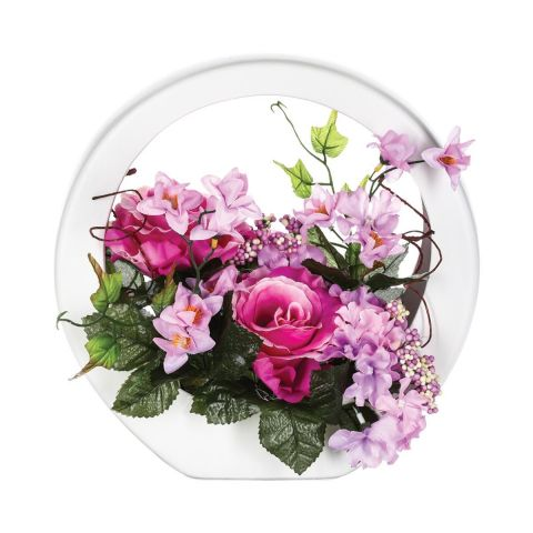 Composition Florale Ronde Rose
